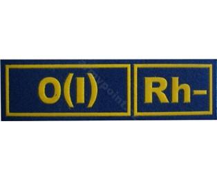 0(I)Rh- MODRÁ - Nášivka krevní skupiny
