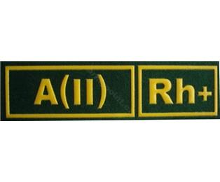 A(II)Rh+ ZELENÁ - Nášivka krevní skupiny