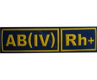 AB(IV)Rh+ MODRÁ - Nášivka krevní skupiny