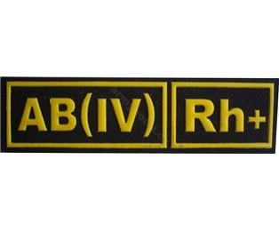 AB(IV)Rh+ ČERNÁ - Nášivka krevní skupiny