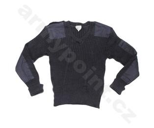 Britský svetr, kommando, modro-šedý