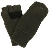 Pletené rukavice bez prstů - palčáky zelené