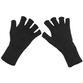 Pletené rukavice bez prstů, černé