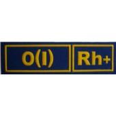 0(I)Rh+ MODRÁ - Nášivka krevní skupiny