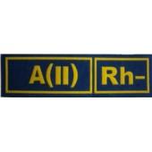A(II)Rh- MODRÁ - Nášivka krevní skupiny