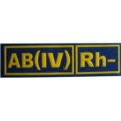 AB(IV)Rh- MODRÁ - Nášivka krevní skupiny